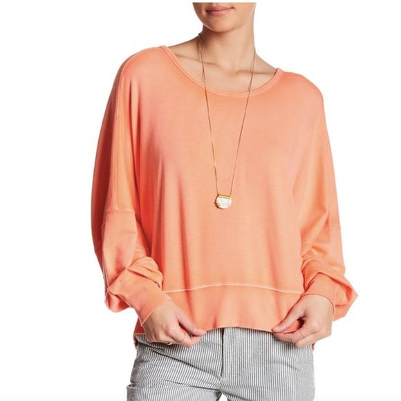 Free People Back It Up Dolman Pullover Coral